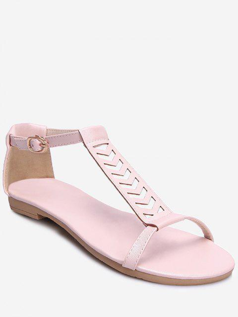 Plus Size Ankle Wrap Hollow Out Sandals - PINK 43