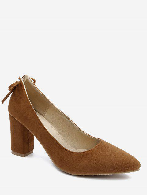 Plus Size Block Heel Bowknot Chic Pumps - LIGHT BROWN 37