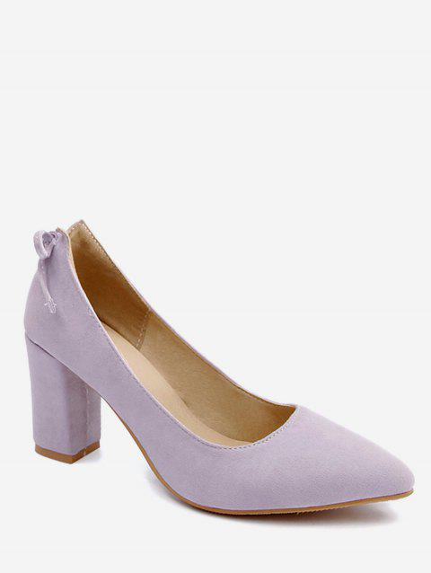 Plus Size Block Heel Bowknot Chic Pumps - MAUVE 40