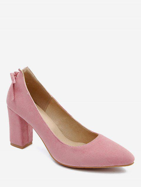 Plus Size Block Heel Bowknot Chic Pumps - PINK 37