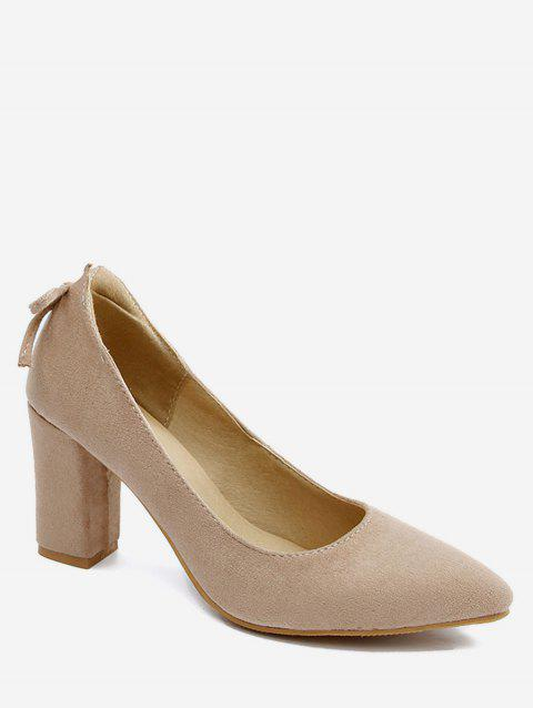 Plus Size Block Heel Bowknot Chic Pumps - BEIGE 43