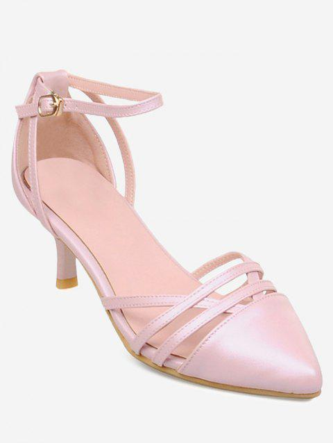 Plus Size Two Piece Pointed Toe Pumps - PINK 39