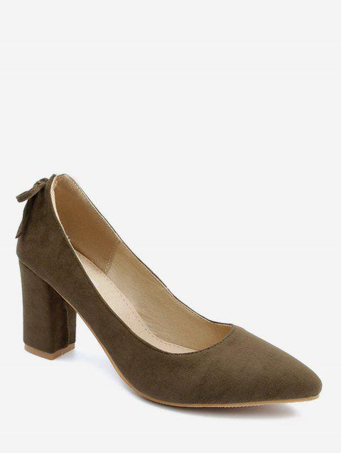 Plus Size Block Heel Bowknot Chic Pumps - DARK KHAKI 39