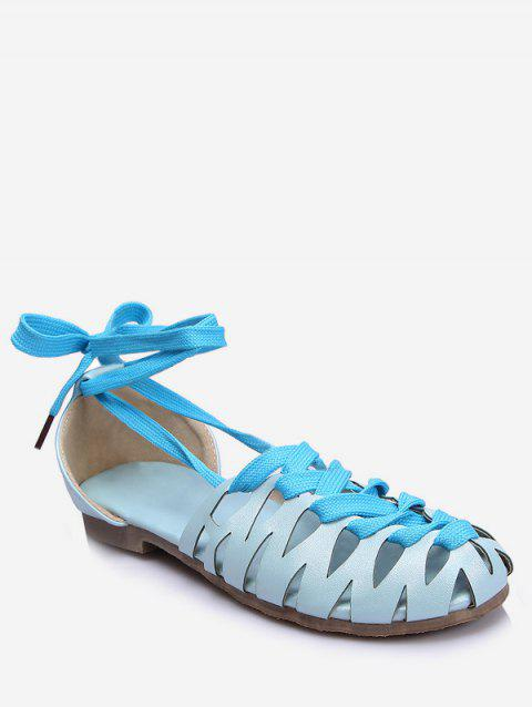 Plus Size Flat Heel Hollow Out Lace Up Sandals - DENIM BLUE 40