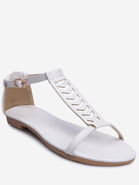 Plus Size Ankle Wrap Hollow Out Sandals - WHITE 39