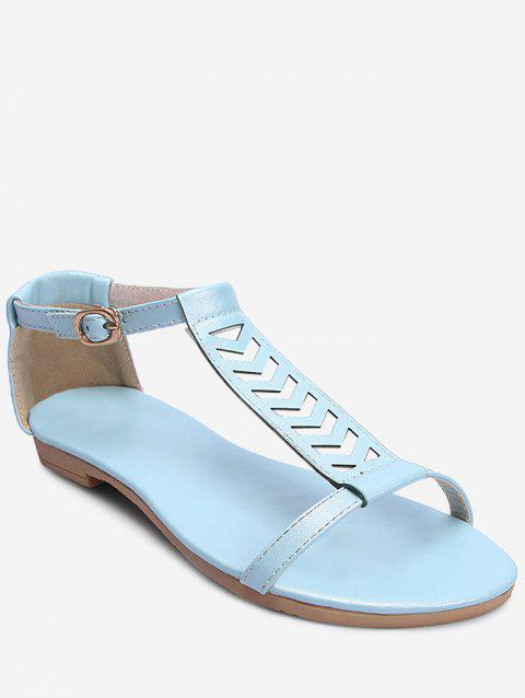 Plus Size Ankle Wrap Hollow Out Sandals - DENIM BLUE 37