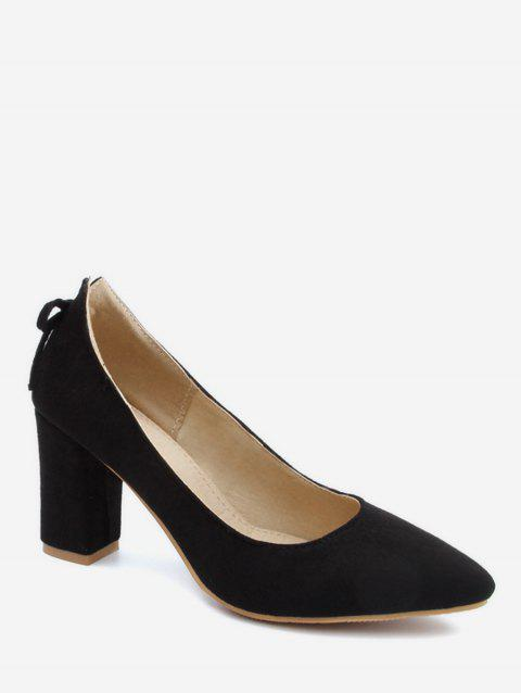 Plus Size Block Heel Bowknot Chic Pumps - BLACK 39
