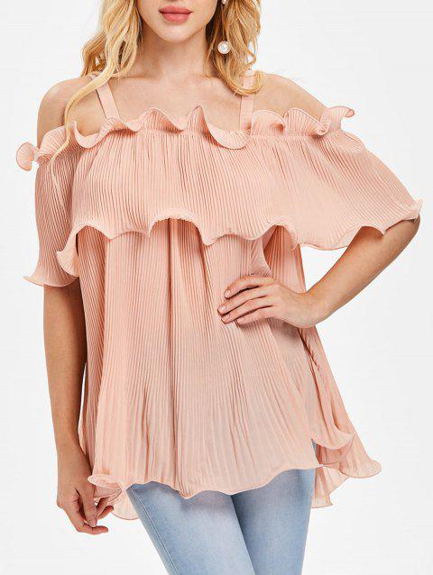 Open Shoulder Ruffled Pleated Top - PIG PINK L