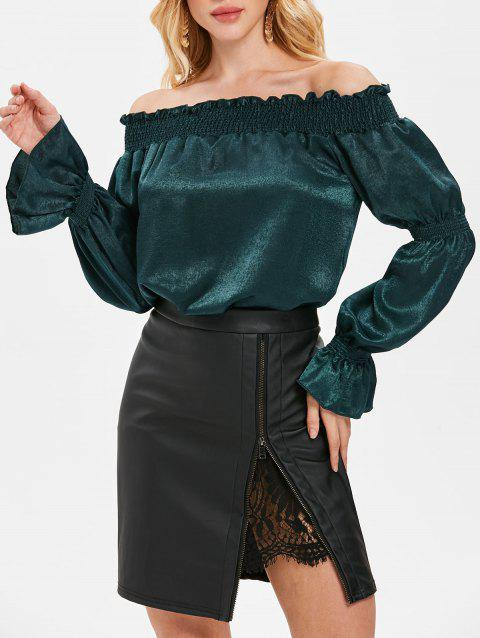 Off Shoulder Bell Sleeve Blouse - DARK GREEN XL