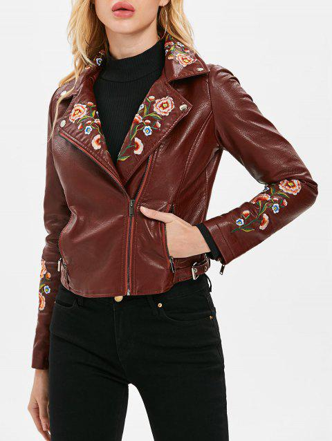 Oblique Zipper Faux Leather Biker Jacket - RED WINE M