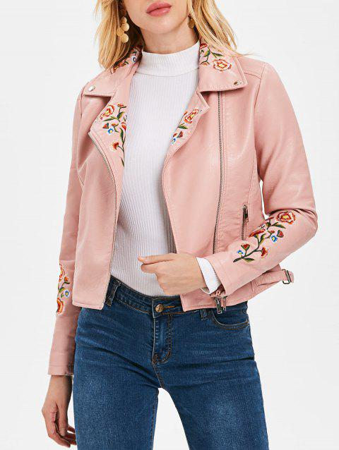 Oblique Zipper Faux Leather Biker Jacket - LIGHT PINK M