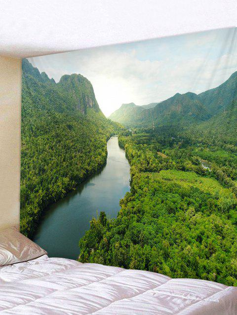 Forest River Printed Tapestry Wall Decoration - SEAWEED GREEN W79 INCH * L59 INCH