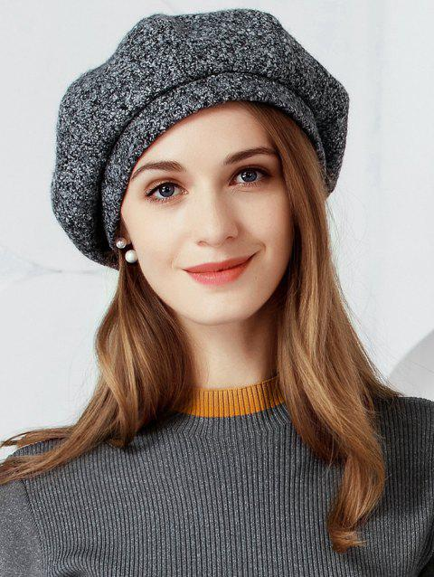 Elegant Solid Color Soften Beret - BLACK