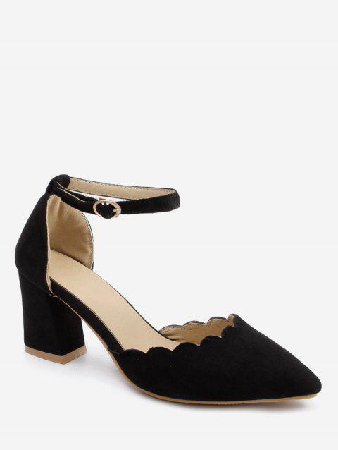 Plus Size Block Heel Ankle Strap Scallop Pumps - BLACK 38
