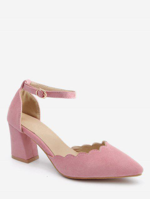 Plus Size Block Heel Ankle Strap Scallop Pumps - PINK 39