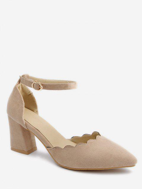 Plus Size Block Heel Ankle Strap Scallop Pumps - BEIGE 37