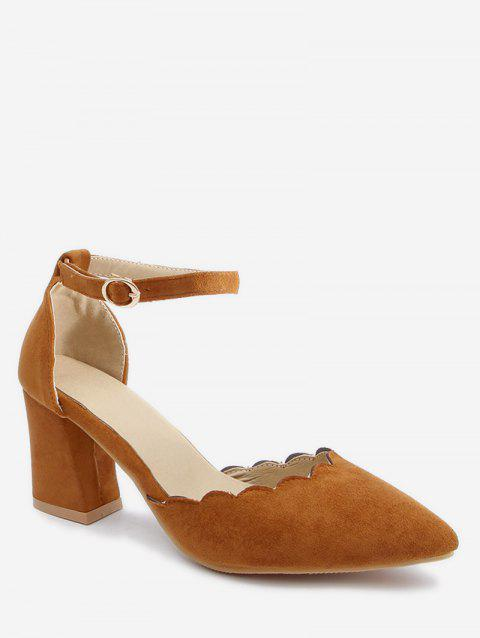 Plus Size Block Heel Ankle Strap Scallop Pumps - LIGHT BROWN 38