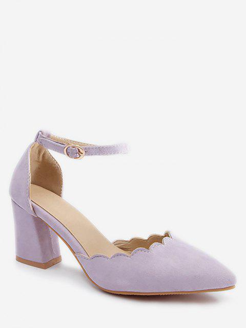 Plus Size Block Heel Ankle Strap Scallop Pumps - MAUVE 41