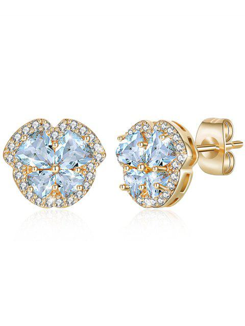 Vintage Rhinestone Crystal Inlaid Elegant Stud Earrings - LIGHT SKY BLUE