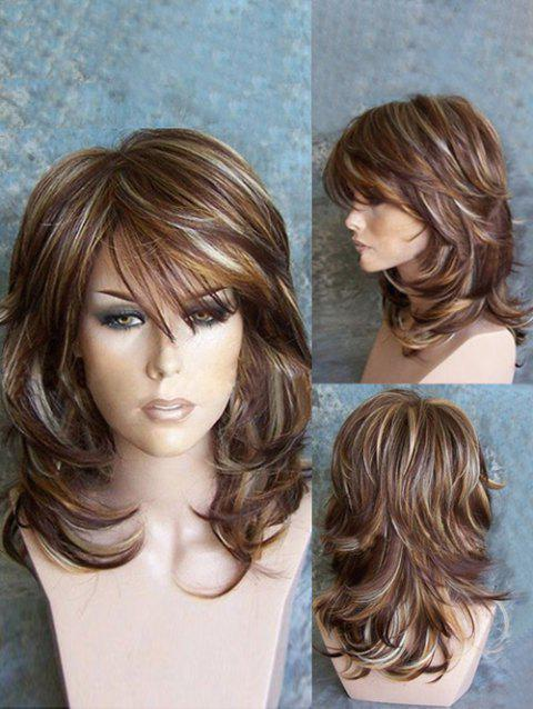 Medium Oblique Bang Highlighted Layered Slightly Curled Synthetic Wig - COLORMIX