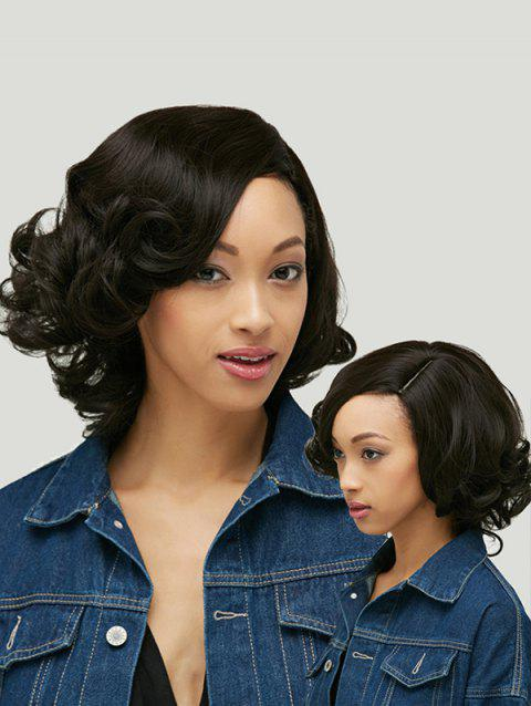 Heat Resistant Synthetic Shaggy Short Curly Capless Side Parting Wig - BLACK