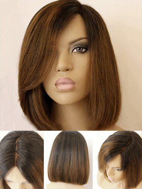 Short Side Part Dark Root Straight Bob Colormix Synthetic Wig - BLACK/BROWN