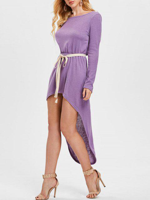 Long Sleeve High Low Dress with Belt - PURPLE M