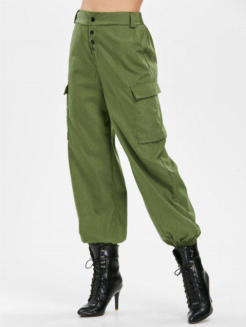Button Embellished Side Pockets Pants - ARMY GREEN L