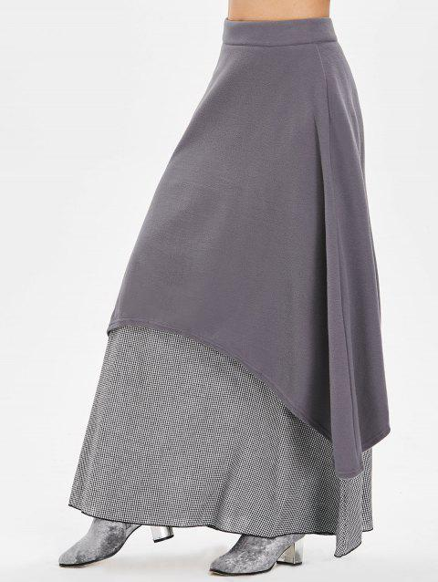 Gingham Panel Maxi Skirt - DARK GRAY M
