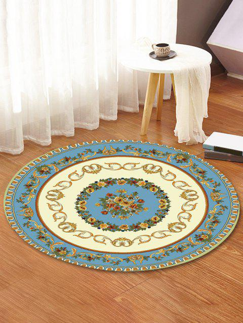 Classic Flower Print Anti-skid Round Floor Mat - BLUE HOSTA 80 CM (ROUND)
