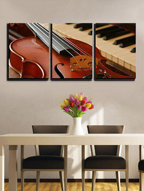 Guitar Piano Print Split Canvas Paintings - multicolor 3PCS:20*29.5 INCH( NO FRAME )