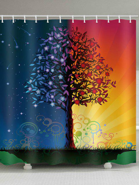 Starry Sky And Sunlight Print Water Resistant Shower Curtain - multicolor W59 INCH * L71 INCH