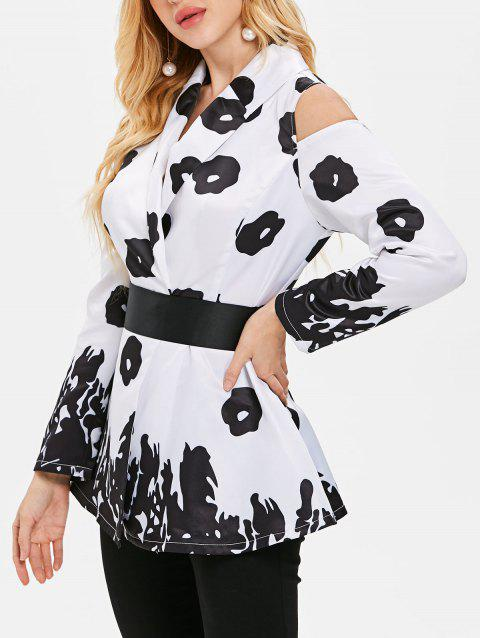 Shawl Collar Printed Cold Shoulder Coat - WHITE 2XL
