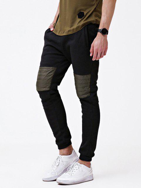 Knee Splicing Pocket Design Casual Jogger Pants - BLACK L