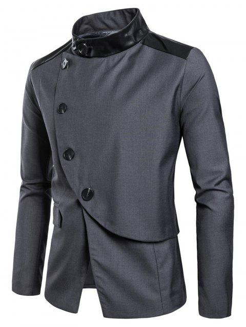 Casual Stand Collar Asymmetric Sideling Buttons Suit Blazers - ASH GRAY L