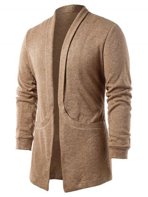 Cardigan Poche Design en Couleur Unie - Marron Camel XL