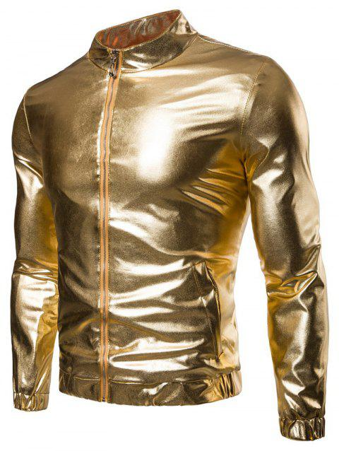 Blinking Night Club Wear Front Zip Jacket - GOLDEN BROWN M