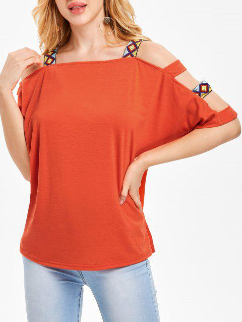 Ladder Cut Out T-shirt - ORANGE L