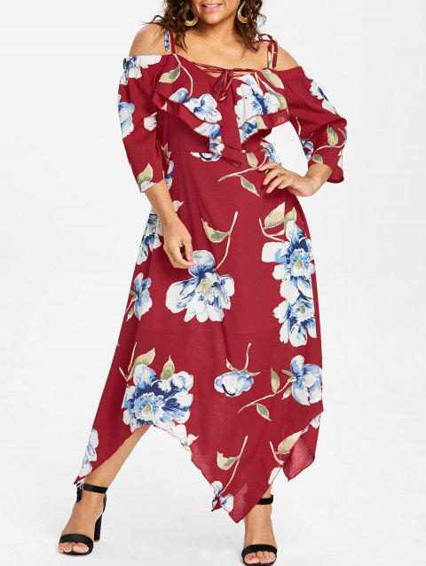 Plus Size Lace Up Maxi Flowing Dress - RED 1X