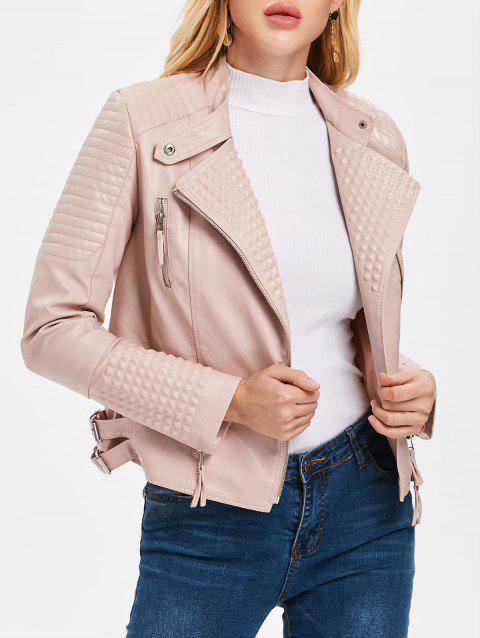 Rivet Faux Leather Lapel Jacket - LIGHT PINK L