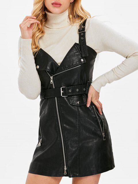 Pinafore Dress with Adjustable Straps - BLACK XL