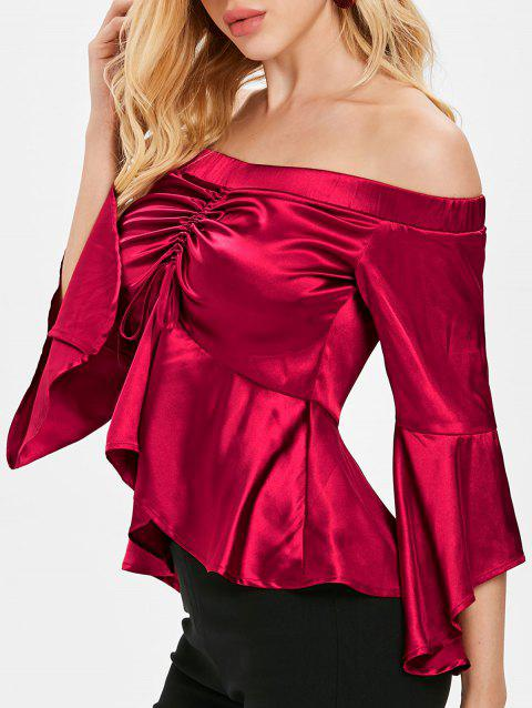 Bare Shoulder Flare Sleeve Metallic Skirted Blouse - RED WINE 2XL