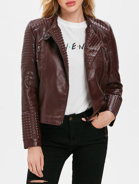 Rivet Faux Leather Lapel Jacket - RED WINE XL