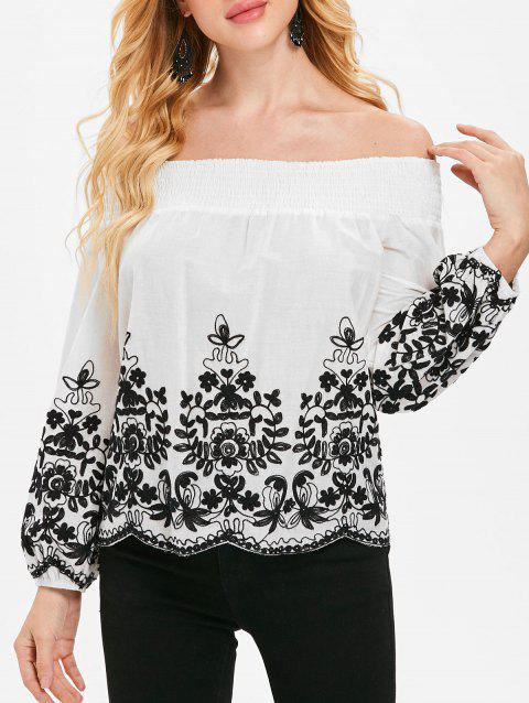 Plant Pattern Long Sleeve Bare Shoulder Blouse - WHITE M