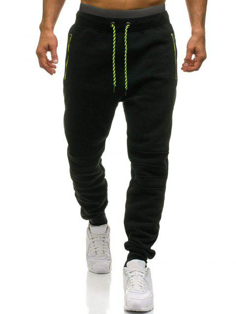 Knee Seam Design Zipper Pockets Fleece Jogger Pants - BLACK M