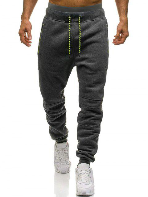 Knee Seam Design Zipper Pockets Fleece Jogger Pants - DARK GRAY M