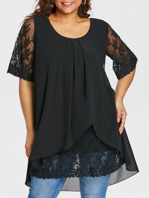 Plus Size Lace Panel Overlap Blouse - BLACK 5X