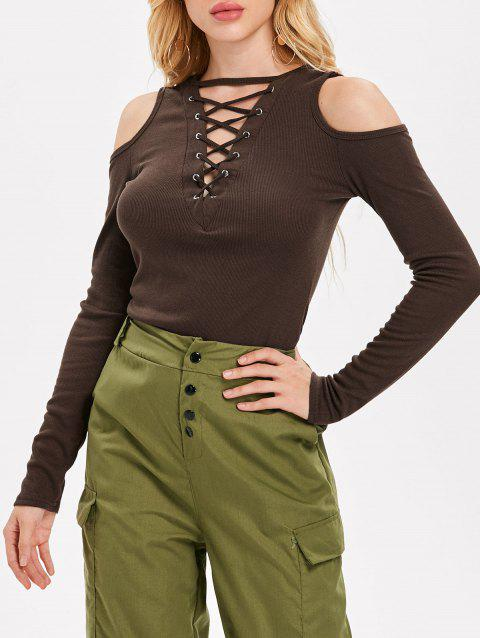 Cold Shoulder Lattice Top - COFFEE XL