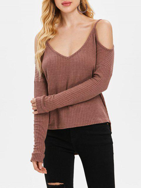 Long Sleeve Cold Shoulder Sweater - PUCE S