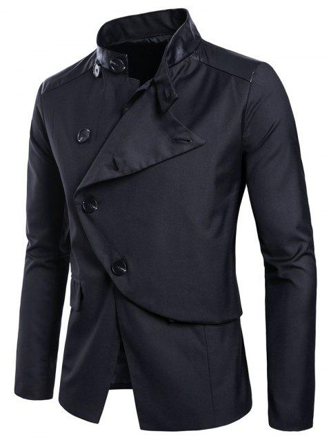 Casual Stand Collar Asymmetric Sideling Buttons Suit Blazers - BLACK 2XL